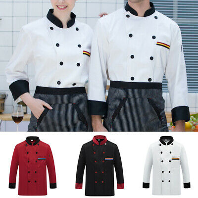 Men Women Stand Collar Blouse Long Sleeve Buttons Shirts Hotel Chef Cook Tops