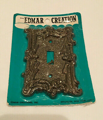Vtg Antique Brass Edmar Creations Single Light Switch Cover NOS