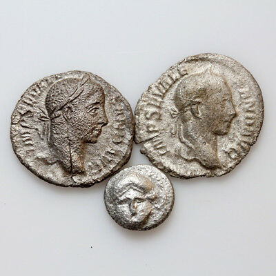 Lot of 3 SILVER COINS , Ancient Greek and Roman , One Fourree