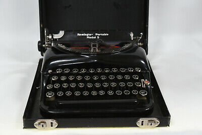 Remington Portable Model 5 Typewriter Streamlined Red-Key with Case - Australia