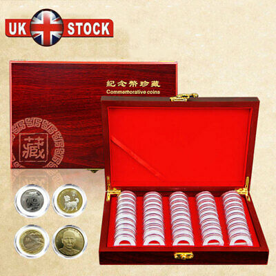 50 Capsules UK Wooden Coins Display Storage Box Case Collectible Coin Home Gift