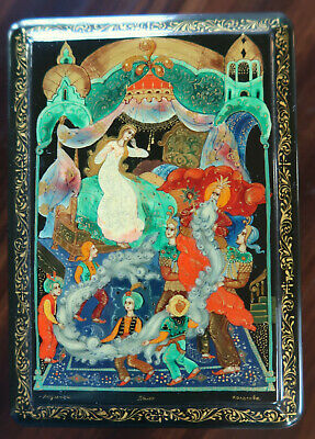 Handpainted Russian Box from Palekh with Fairytale Scene, signed