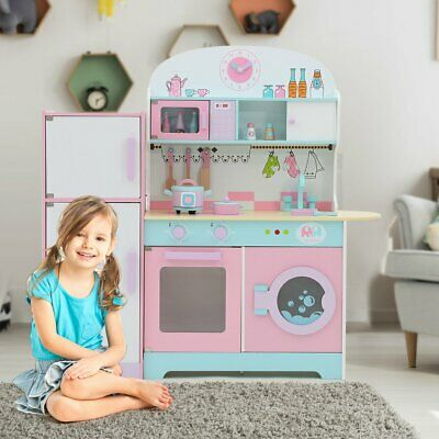 LITTLE TREE Wooden Building Pretend Play Kitchen, Children's Role Play Toy