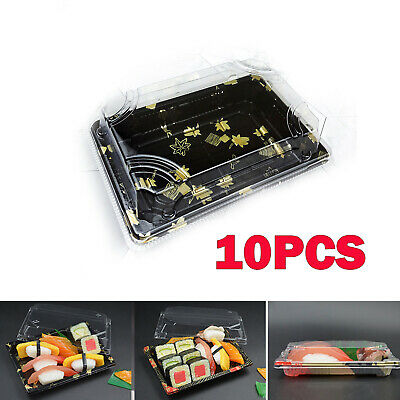 10x Small Buffet Party food Platter Trays & Lids Cakes Sushi Packing Boxes New