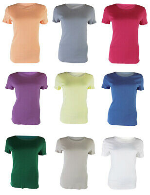 Ladies Ex M&S Crew Neck T-shirt Top Cotton Free 1st Class Postage Sizes 8-24 NEW