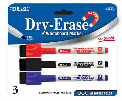 3 x Bazic Whiteboard Marker Pens Dry Wipe Erase Magnetic black blue red