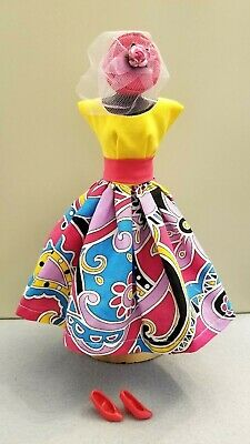#20. Handmade Multicolored Flared Skirt Dress, Hat & Shoes for Barbie Dolls