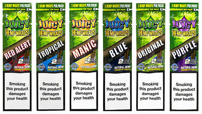 Juicy Jay's Rolling Papers Hemp Wraps Mixed Flavors (6 Packs x2=12 Blunts)