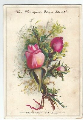 Antique 1890s Niagara Corn Starch Pink Victorian Roses Embossed Litho Trade Card