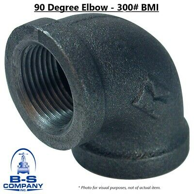 "90 Degree Elbow 4"" 300# Black Malleable Iron BMI Threaded Pipe Fitting"
