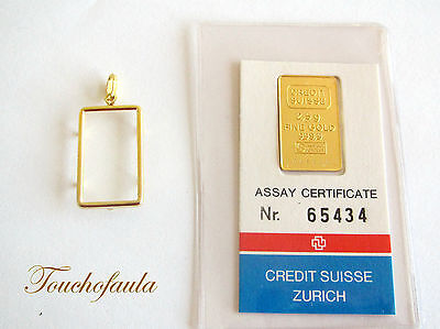 24K Pure Gold  Credit Suisse Two And One Half ( 2.5 ) Gram Ingot With Frame