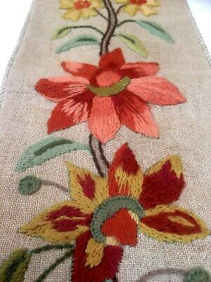 """Beautiful Hand embroidered Crewelwork Bell Pull Antique Vintage 44"""" Brass Mounts"""