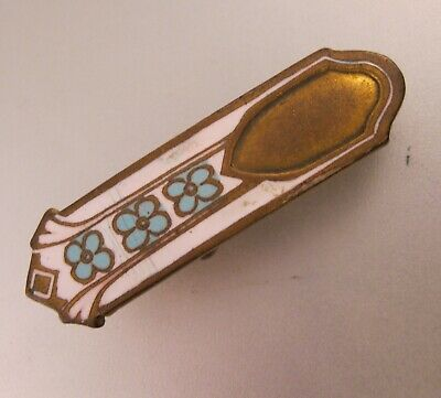 Antique Art Deco Guilloche Enamel Lingerie Clip Blue & White On Brass Jewelry