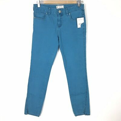 NWT Free People Womens Size 27 Skinny Crop Jeans Stormer Blue Turquoise