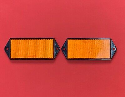 2 x Orange RADEX Rectangle Screw Mount Reflectors 127mm x 50mm Posts Fences etc