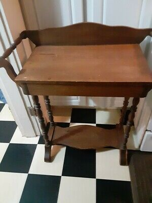 Antique American Country Wood Wash Stand W/towel bars & Drawer Original Finish!
