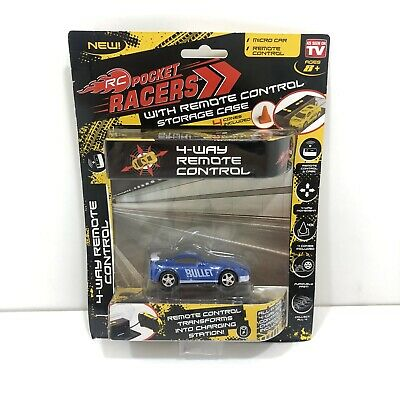 NEW RC Pocket Racers Remote Controlled Micro Race Car Bullet Blue *As Seen On TV