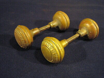 Beautiful set Antique Victorian Brass Egg & Dart Pattern Decorative Door Knobs