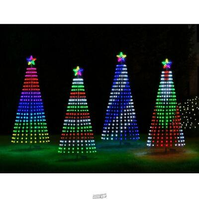 7 1/2' Synchronized Musical Christmas Pixel Tree Light Lawn Ornament Star Bright