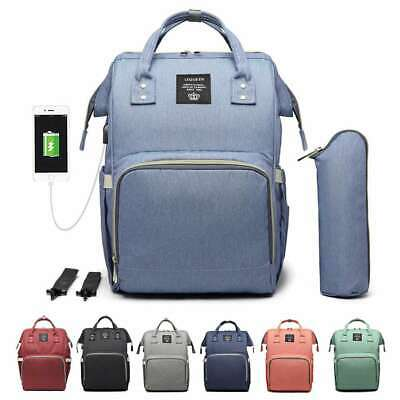 LEQUEEN Multifunctional USB Baby Diaper Backpack Changing Bag Nappy Mummy US1