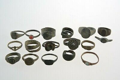 Lot of 16 Roman Byzantine Medieval bronze rings 100 AD -1100 AD