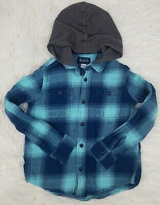 The Childrens Place Boys Hooded Flannel Shirt Size 7/8 Plaid Blue Long Sleeve