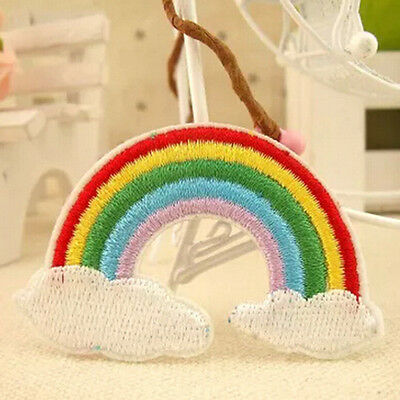 Cloud Sick Rainbow Patch Iron Sew On Embroidered Badge Embroidery Craft Applique