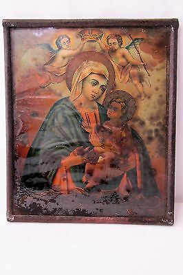 Antique Russian Christian Orthodox Icon Mother Mary Jesus Christ