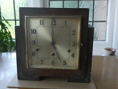 vintage pre 1940s wooden chiming pendulum mantle clock with key for restoration