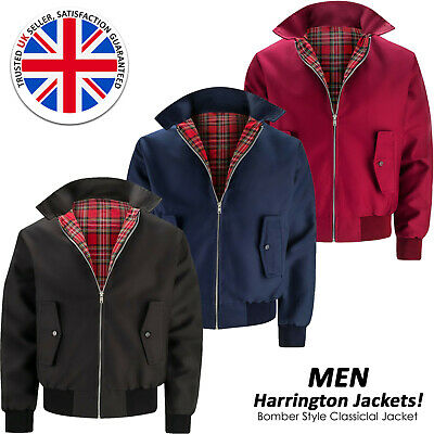 Mens Bomber Harrington Jacket Classic Retro Scooter 1970's Vintage Zip Coat Top