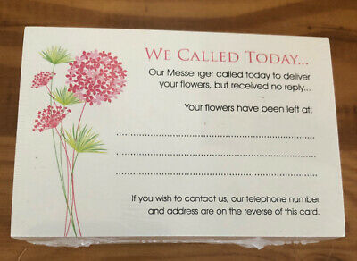Florist Care Cards X 100 - Flower Care Gift Instructions Missed Calling Card A8