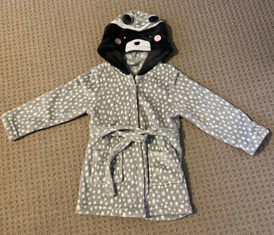 Grey White Spot Bear Or Raccoon dressing gown 5 years boys or girls