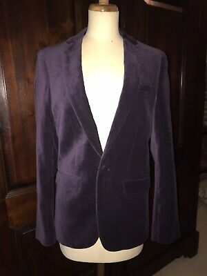 "Purple 100% Cotton ASOS Velvet Dinner Jacket 34"" Chest Lined"