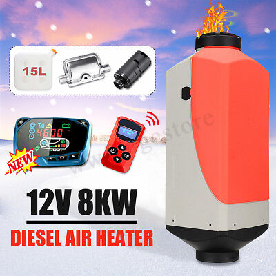 8KW 12V Air Diesel Heater Tank Vent Duct Thermostat Car Caravan Remote Control