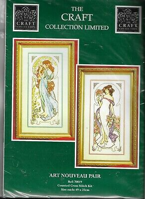 Craft Collection Counted Cross Stitch Kit Art Nouveau Pair 70019 Sealed New