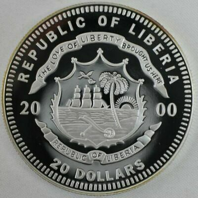 2000 Republic of Liberia Mission Apollo X .999 Fine Silver $20 Proof Coin