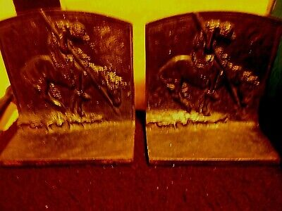 """Vintage Cast Iron """"End of the Trail"""" Black Book Ends"""