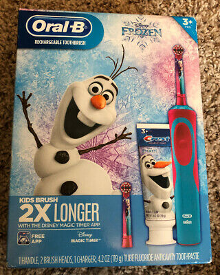 Disney Frozen Elsa Olaf Oral-B Braun Rechargeable Toothbrush With Toothpaste