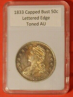 1833 CAPPED BUST 50 CENT with Lettered Edge and NICE TONING - NOT-CERTIFIED