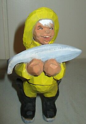 Vintage Henning Norway Hand Carved Fisherman Boy With Big Fish
