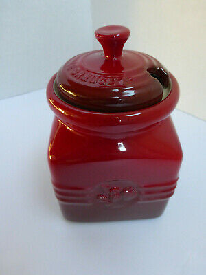 Le Creuset Jam Jar Berry Stoneware With Lid No Spatula Mint Condition Retired