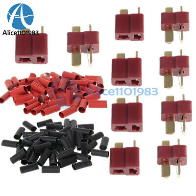 10/20/50Pairs Ultra T-Plug Connectors Deans Style Male Female +Shrink Tube