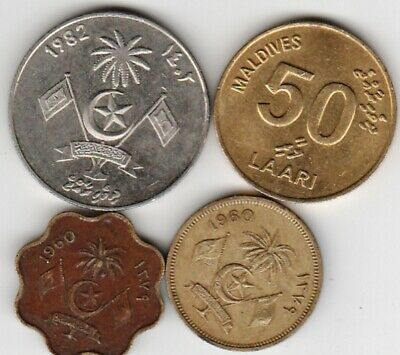 4 different world coins from MALDIVES