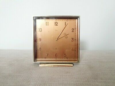 Original Chrome Art Deco Clock Swiss Imhof 8 Day 15 Jewels 1930s Vintage