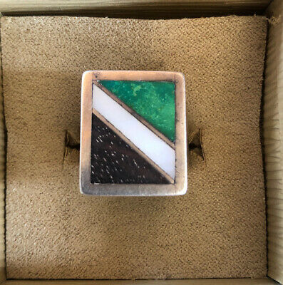 MENs NATIVE AMERICAN STERLING SILVER TURQUOISE MOTHER Of PEARL WOOD Inlay RING