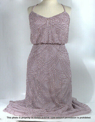 WOMENS Adrianna Papell FULL-LENGTH BEADED FORMAL GOWN DRESS Lilac SZ 6