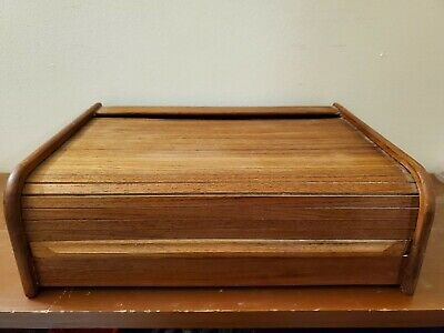 Vintage Wood Grain 30-Cassette Tape Storage Case - Roll-Top Cover