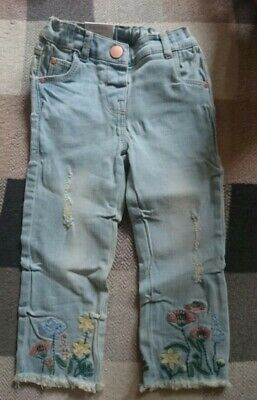 🌸 Brand new with tags BNWT Baby Girls NEXT flower embroidere jeans 12-18 Months