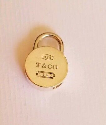 Tiffany & Co. 1837 Round Lock Charm T & Co 925 Sterling Silver ~ is moveable!