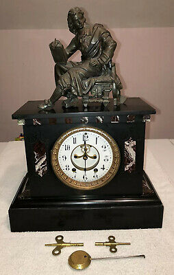 1890's Antique Seth Thomas Marble Slate Mantel Clock Open Escapement Working
